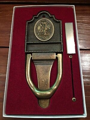 Vintage Ornate Brass Heavy Door Knocker In Original Box With Name Plate