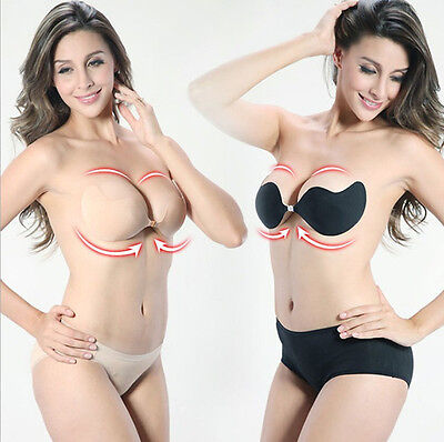 Sexy Strapless Deep V Invisible Bras Self adhesive Push Up Stick On Gel Backless