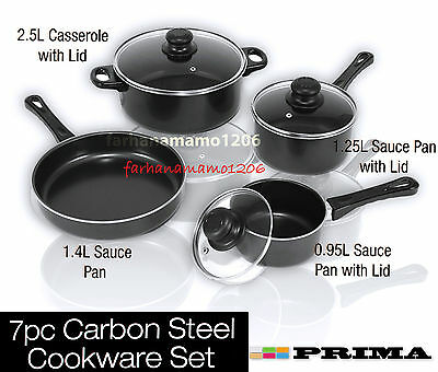 New 7PC CARBON Steel NONSTICK Pan Set GLASS LID Cookware Set SAUCEPAN
