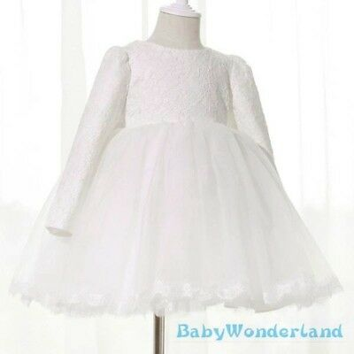 Girls Long Sleeves Birthday Christening Baptism Gown Lace Party Dress Size 3-12Y