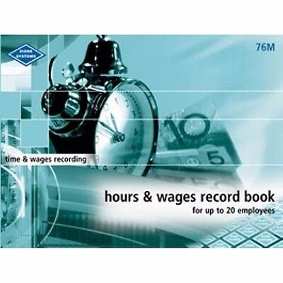Zions Systems Hours & Wages Record Book Up To 20 Staff Employees 76M