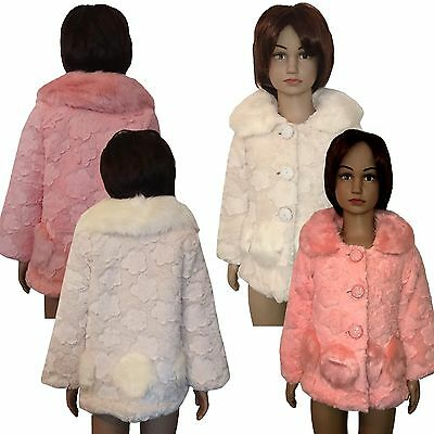Girls Faux Fur Coat Fleece Coat Party Warm Jacket Christams Top 3-10 Years #58