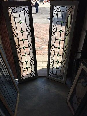 St 572 Matched Pair Leaded And Stained Glass Transom Windows Or Sidelights