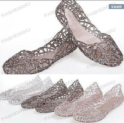 Women sheeca  Hot Sale Ventilate Crystal Shoes Jelly Hollow Sandals Flat Shoes