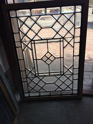 Sg 583 Antique All Beveled Glass Landing Window Or Door Panel