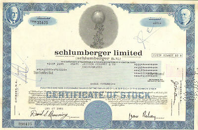 Schlumberger Limited   1980 Netherlands Antilles oil gas share stock certificate