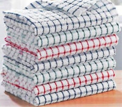 Pack Of 12 Terry  100% Cotton Tea Towels Set Kitchen Dish Cloths Cleaning Drying