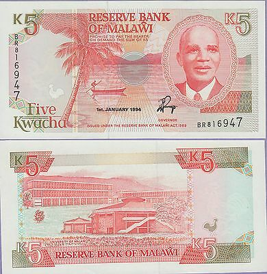 Malawi 5 Kwacha Banknote 1-1-1994 Uncirculated Condition Cat#24-B-6947