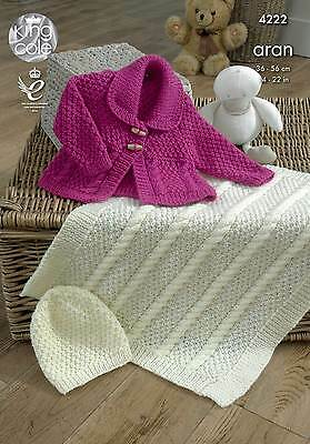 KINGCOLE 4222 BABY ARAN  KNITTING PATTERN  14-22IN -not the finished garments