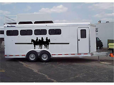10ft Horses & Riders Border Horse Trailer RV Decal Stickers 28x10ft Set of 2
