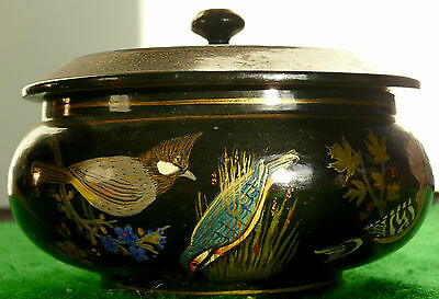 Signed Hand Painted Suffering Moses Srinagar Kashmir Birds Lacquered Box