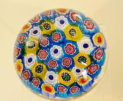 Vivid aqua millefiori Art Glass Paperweight. New