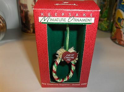 First Christmas Together`1988`Miniature-A Dated Wreath,Hallmark Ornament>Free US