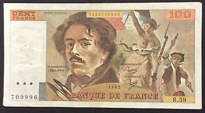 1982 100 Francs France Banknote - 709996 circulated condition