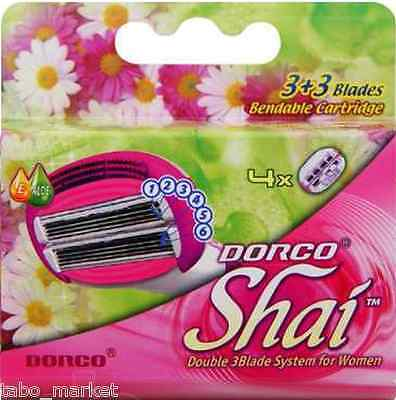 DORCO SHAI Women Razor 4 Refill Cartridges 3+3(6) SMOOTH TOUCH Blade System Best