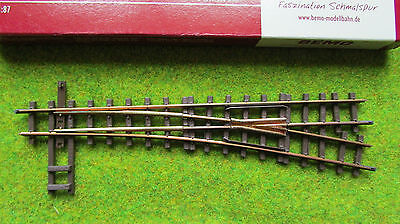 Bemo H0e/009 right hand manual turnout/point 4011000 narrow gauge track