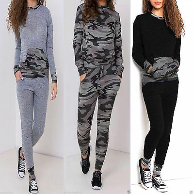Womens Camouflage Army Printed Loungewear Set Joggers Ladies Tracksuit Pants