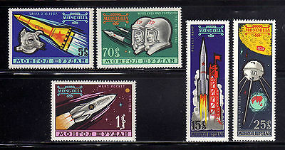 MONGOLIA 1963  MNH SC.318/322 Soviet Space Explorations