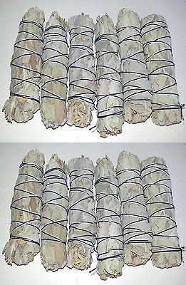 "LOT of 12 white Sage Smudge 4 1/2 to 5"" Stick House Cleansing Negativity Removal"