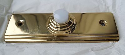 Large Ribbed Brass Door Bell Push with Lighted Button - for a wired door Bell