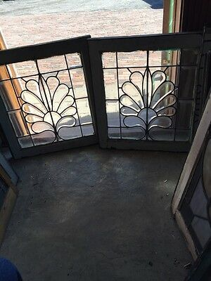 Sg 602 Matched Pair All Beveled Glass Floral Windows