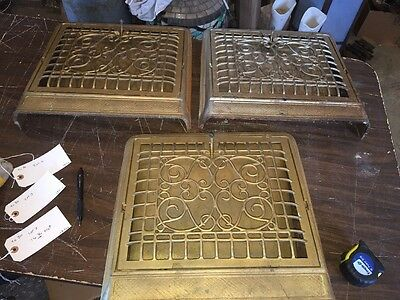 3 Available Antique Cast-Iron Heating Grates Ornate Wiry Design Tc 80