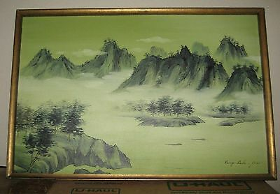 Mid-Century Korean Landscape Original Oil Painting on canvas by artist Seo