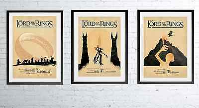 LORD OF THE RINGS 1 2 3 Alternative Movie Posters Minimal Wall Art *A3 / A4 Size
