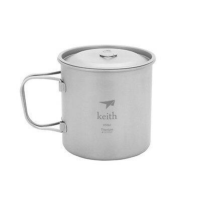 Keith Titanium Cup Home Water Cup Office Mug Outdoor Camping Folding Grip 650ml