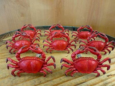 8 RED CRAB SHELLFISH METAL PULLS DRAWER CABINET HANDLES KNOBS beach ocean decor