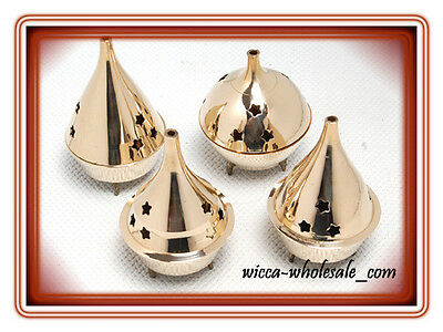 Lot of 4  Assorted Brass Censer Incense Charcoal Cone Resin Burner and FREE SHIP