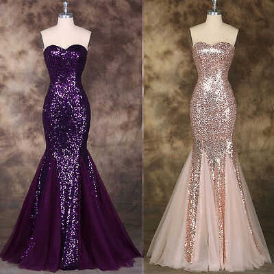 Long Sequins Cocktail Dress Party Formal Evening Ball Prom Dresses Wedding Gown