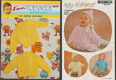 Two x Baby's Vintage Knitting Pattern Books ~ Patons  446 & Emu 8645 ~