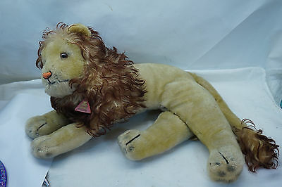 VINTAGE PLUSH TOY LION CLEMENS SPIELTIERE GERMANY MOHAIR RECLINING ANIMAL 50s