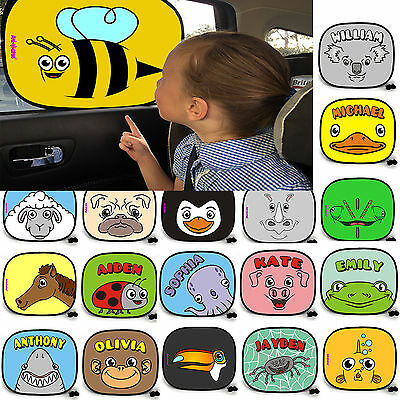 Personalised Car Window Cartoon Sunshades Visor sun shade blind birthday uv gift