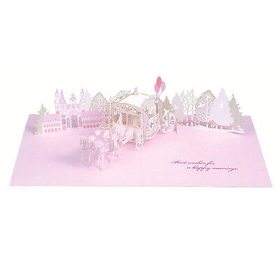 Happy Wedding Laser Cut Carriage Pop Up Greeting Card