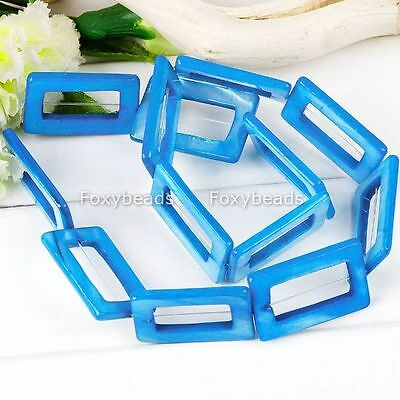 Blue Hollow Rectangle Mop Shell Loose Beads For Jewellery Diy Fashion Craft