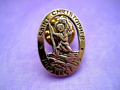 Saint St Christopher Gold Lapel Pin Medal Patron of Travelers Religious