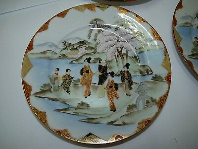 Set 3 Antique 19C Japanese Marked Porcelain Plates Hand-Painted Chinese Scenes
