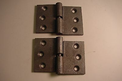 "TWO 1800's ANTIQUE RIGHT SIDE SHUTTER HINGES 2 5/8"" X 4"" CAST IRON LIFT OFF TYPE"