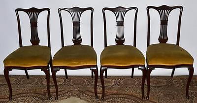 Set of 4 Antique Queen Anne Style Mahogany Dining Chairs - FREE P&P [PL992]