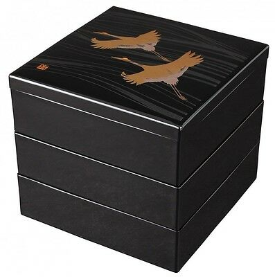 Three-tiered lacquered boxes Flying Cranes Jubako Jyubako Bento from Japan