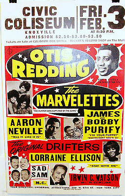 Otis Redding, Marvellettes...Civic Col Knoxville Globe Reissue Poster USA