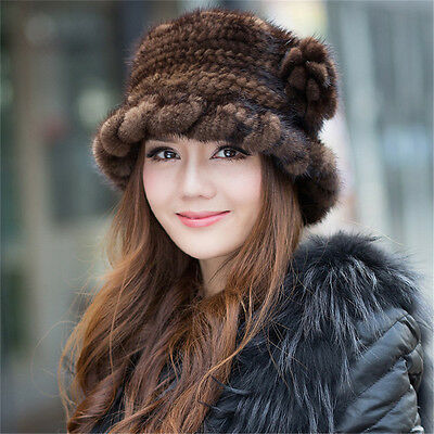 Just Arrival 100% Real Lady Knitted Mink Fur Hat Cap Headgear Tuque Beanie Hats