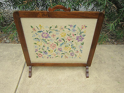 Antique Vintage Fire Place Screen With Tapestry