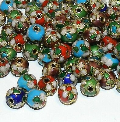 CLX112L Assorted Color 7mm Round Enamel Overlay on Metal Cloisonne Beads 100/pkg