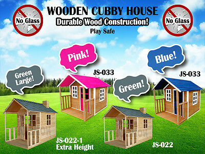 Wooden Cubby House Outdoor Playhouse Durable Wood Construction No Glass MEL