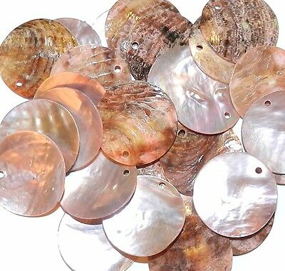S212f Pink Mussel Shell 20mm Round Top Drill Coin Drop Gemstone Bead 25/pkg