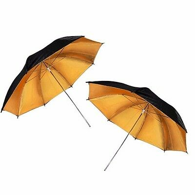 "2x 33"" Photo Studio Black Gold Reflector Umbrella Video Flash Light Reflective"