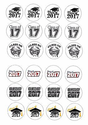 24 Edible cake toppers wafer paper Class of 2017 End of term school leavers